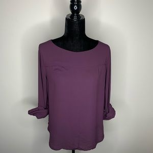 Loft Eggplant Long Sleeve Blouse Small